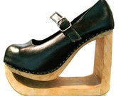 Reserved for  MaxineofBeverlyHills: Vintage 1980's Leather Mary Jane Wooden Sole Platforms size 10