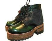 Vintage NaNa Plaform Boots Womens Industrial Strength Green Leather & Suede Wooden Bottom Platform Boots Fits Womens US Size 7