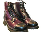 Vintage Mens Logger Boots Dark Purple and Black Leather Work Boots Mns US Size 9