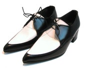"""Men's Vintage Black & White Leather """"Look Sharp"""" Pointed Toe Lace Up Winklepicker Shoes sz 7"""
