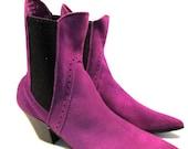 RESERVED For peterblast: Men's Vintage 1980's John Fluevog Purple Suede Chelsea Beatle Boots from England UK size 7 (US Men's size 8)