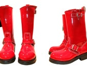 RESERVED for aleitch1: Vintage Red Patent Leather Steel Toe Engineer Motorcycle Biker Boots
