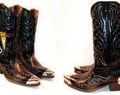 Vintage Men's 1980's Acme Pointed Toe Cowboy Boots with German Silver Boot Tips and Heel Plates Men's U.S. size 7