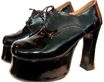 Vintage Platform Shoes Womens English Patent Leather School Girl Plats Wms US Size 7