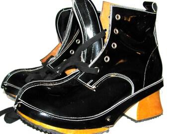 Vintage 1980's John Fluevog Black Patent Leather Derby Clog Boots Fits Womens US Size 5