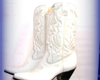 White Leather Cowboy Boots Vintage Mens Rancho Loco Western Boots Mns US Size 9 1/2