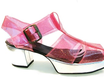 Vintage John Fluevog Shoes Pink Glitter Plastic Fantastic Sandals Made In England Will Fit Womens US Size 8