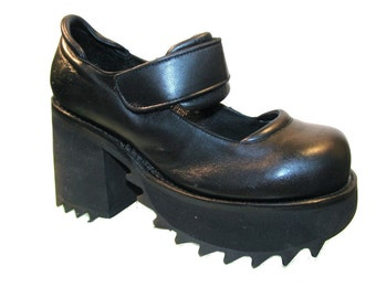 Platform Mary Jane Shoes Vintage Muro Black Leather Industrial Strength Gothic Lolita Baby Dolls Fits US Size 10