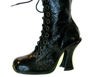 Vintage Granny Boots Luichiny Womens Wet Look Patent Steampunk Boots Wms US size 7