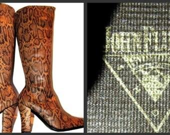 Vintage John Fluevog Snake Print Leather Knee High Boots From England Fits Wms US size 10