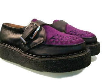 Men's Vintage John Fluevog George Cox Purple Suede & Leather Old School Crepe Sole Creepers Fits Mens US Size 11