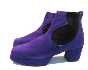 Vintage John Fluevog  Shoes  from England Purple Suede Square Toe Chelsea Boots  size U.S.womens 6