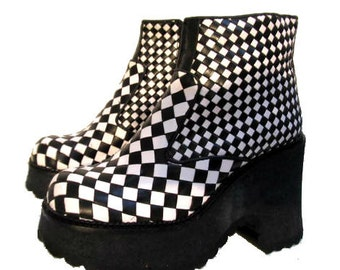 Vintage Checkerboard Platform Boots Black & White Leather Club Kid Boots Wms Euro Size 39 will fit a Womens US Size 8