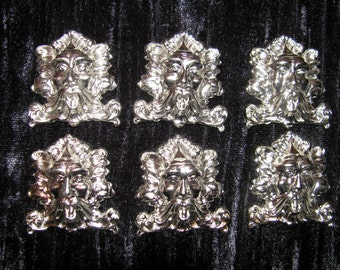 Gothic Green Man Jewelry Stampings Six Pieces Chrome Silver Nickle Plated Brass 1 1/2 Tall x 1 1/2 Wide Hollow Back Jewelry Findings