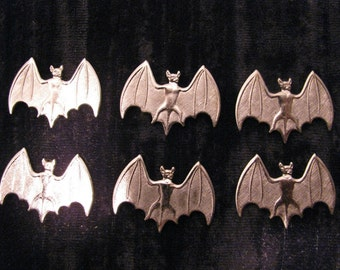Gothic Bat Jewelry Stampings Six Pieces Chrome Plated Over Brass Bat Jewelry Supplies Findings Charms