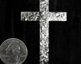 6 Pcs  Rose Cross Metal Jewelry Stamping  2 1/2 Inches Tall Chrome Silver Plated Brass Cross Necklace Jewelry Making Finding Flat Back