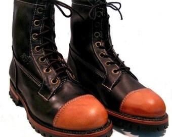 Vintage Work Boots 1980s Men's Rawhide Leather Toe Logger NaNa Shoes Mns US size 10