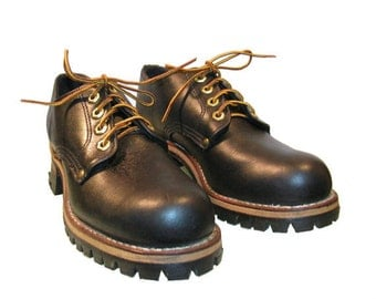 Georgia Boots Logger Shoes Vintage Womens Black Oil Tan Leather Work Shoes Made In The USA With Vibram Soles Wms US Size 8