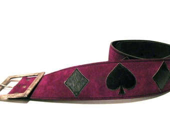 Purple Suede Belt with Black Leather Diamonds and Spades Belt with Antiqued Silver Buckle 32 Inches Long