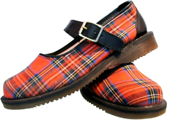 1980's Vintage Dr. Martens Red Tartan Mary Jane Baby Doll PUNK LOLITA Shoes England 8