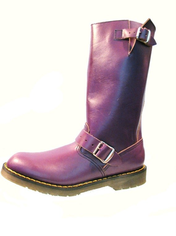 Vintage 1980's Purple Leather Dr. Martens Motorcycle Boots from England  woman's size 9