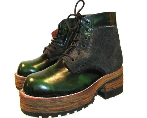 vintage s platform boots industrial strength green