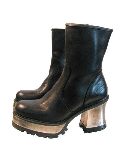 steel heel motorcycle boots vintage womens black leather zip
