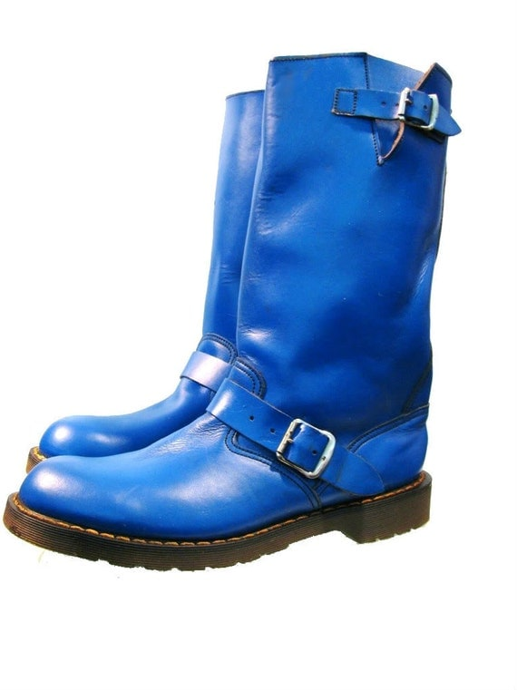 Men's Vintage Blue Leather Dr. Marten Motorcycle Biker