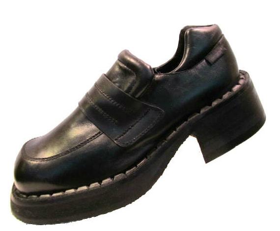 vintage mens black leather platform loafer shoes by