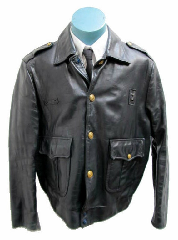 "Men's 1960's Vintage Dan-Jac  ""Days of Rage"" Obsolete Chicago Police Leather Jacket size 44"