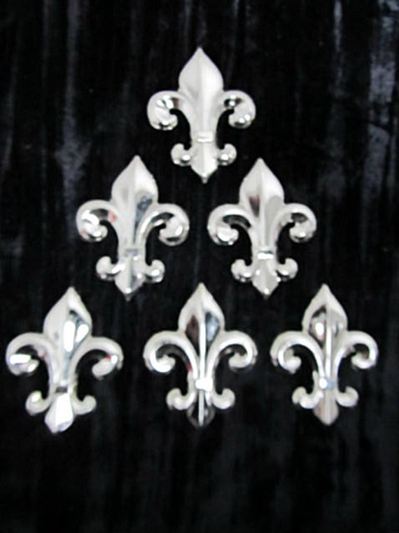 2 3/4 inch Chrome Plated Brass Fleur-De-Lis Jewelry Findings Stampings (6 pieces)