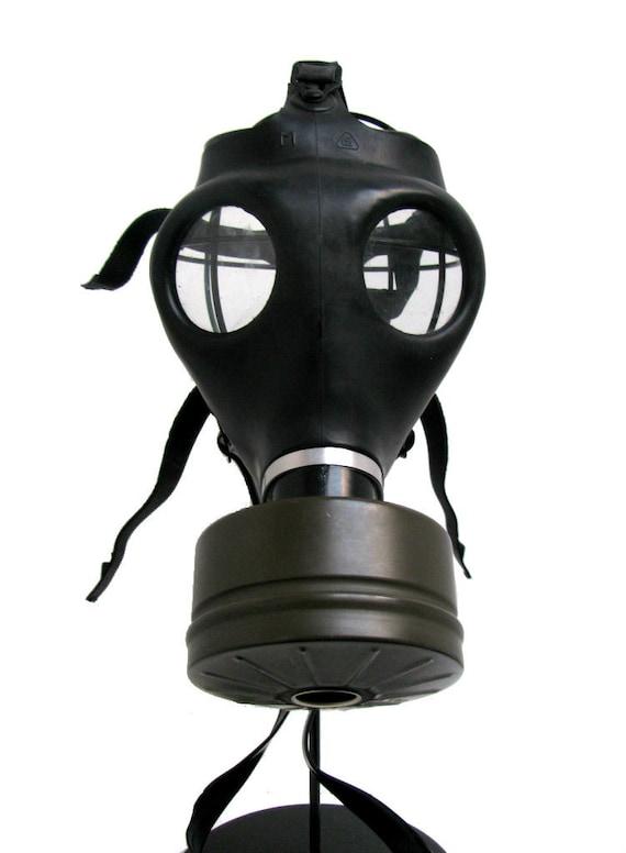 Black Rubber Gas Mask Vintage Military Rivet Head Industrial Strength STEAMPUNK