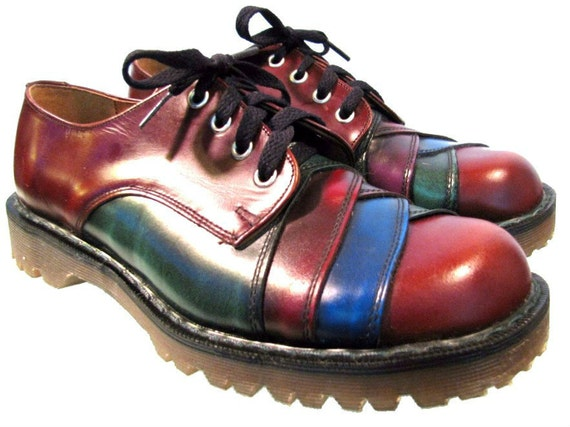 Vintage NaNa Dr Martens Shoes Mens Red Blue and Green Leather Doc Martens DM Gibson Shoes with Ranger Soles from England Mens US Size 10