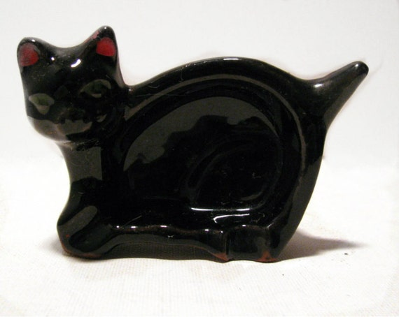Vintage 1950's Lucky Black Cat Porcelain Ashtray