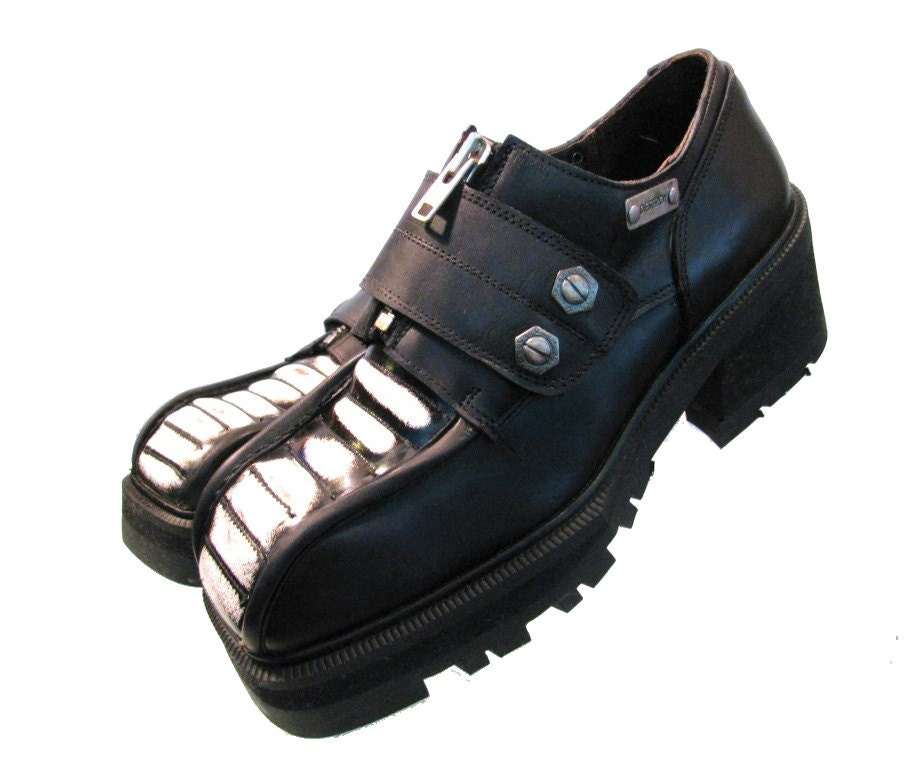 vintage mens shoes destroy black with white rub leather