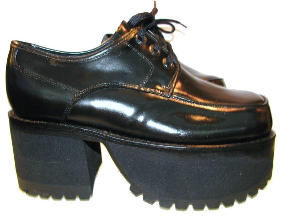 vintage s black leather mondo stack platform shoes