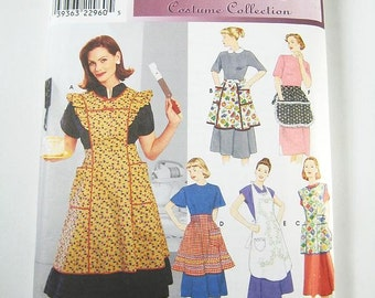 Simplicity Apron Pattern 8720 - Misses' Retro Style Aprons in 6 Variations - Sz S/M/L - All Sizes Included