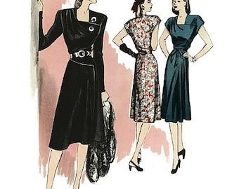 Butterick Retro 1940s Dress Pattern B5281 - Vintage Style Dress and Belt - Sz 14/16/18/20/22