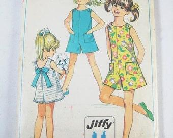 Girl's Pantdress Pattern - Vintage 1968 Pattern - Simplicity 7708  Size 12