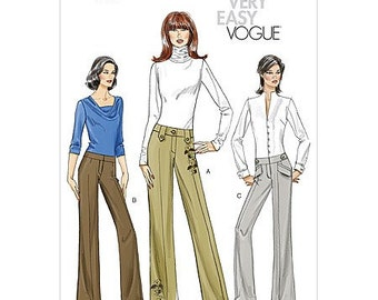 SZ 6/8/10/12 - Vogue Pants Pattern V8456 - Misses' Flared, Low Rise Pants/Trousers in Three Variations - Very Easy Vogue