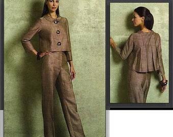 Sz 6/8/10/12 - Vogue Suit Pattern V2956 - Misses' Cropped Pleated Back Jacket and Pants - OSCAR de la RENTA - Vogue American Designer