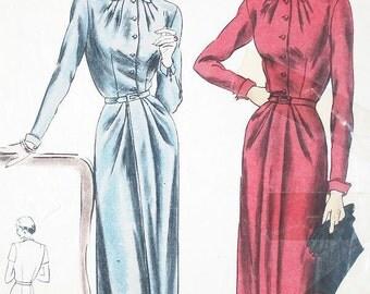 "Misses' Pleated Neckline One-Piece Dress - SZ 14/Bust 32"" - Vintage 1950s Dress Sewing Pattern - Vogue 6186"