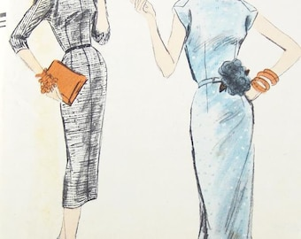 """Misses' One-Piece Dress in Two Variations - SZ 10/Bust 31"""" - Vintage 1950s Dress Sewing Pattern - Vogue 8930"""