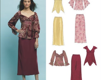 New Look Separates Pattern 6406 - Misses' Boho Tops and Bias Skirt - Sz 10 thru 22