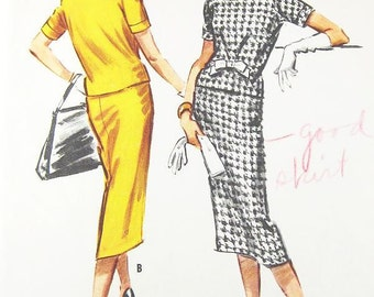 Vintage 1950s Dress Pattern - McCall's 4487 - Misses' Overblouse & Skirt - SZ 16/Bust 36