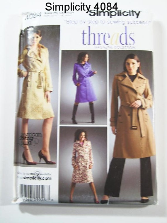 Simplicity 4084 - Misses' Lined Single or Double Breasted Trench Coat in 4 Variations - SZ 6/8/10/12/14