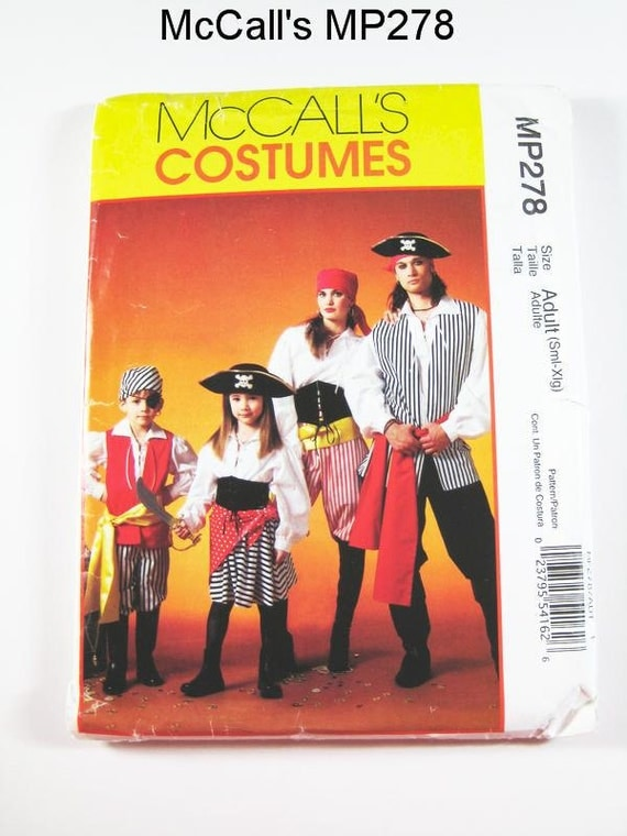 McCall's Costume Pattern MP278:  Misses' and Mens' Pirate Costumes - Sz S/M/L/Xl