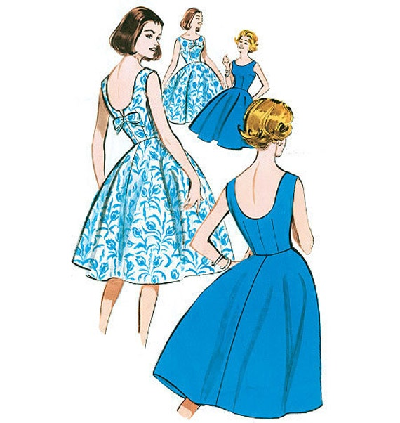 Retro Dress Pattern Butterick B5748 1960 Vintage Style