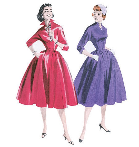 Retro Dress Pattern Butterick B5556 1955 Vintage Style