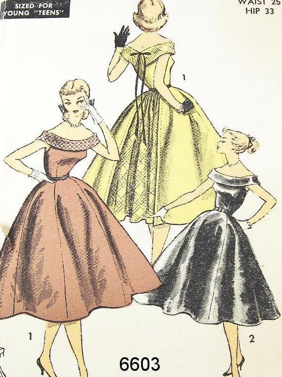 Vintage 1950s Dress Pattern - Advance 6603 - Misses' or Teen One-Piece Dress - SZ 12/Bust 30